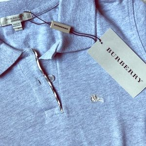 Gray Burberry Short Sleeve Polo, NWT